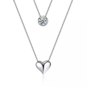 Jewelry - Sterling Silver heart/Cz stone necklace